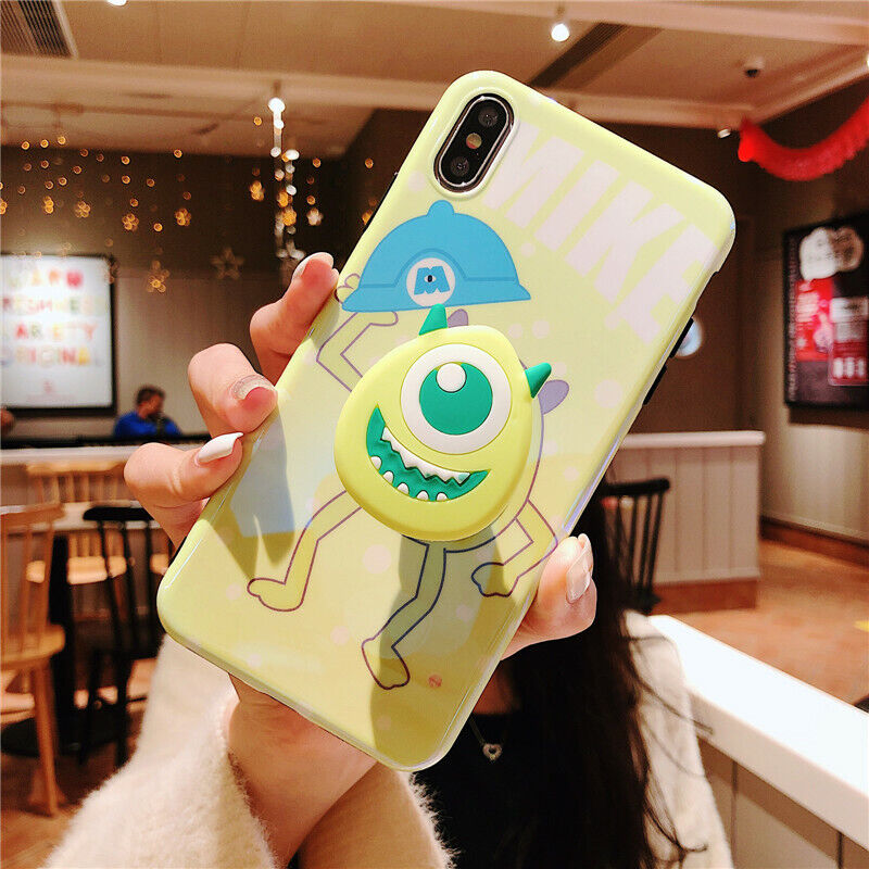 For iPhone 11 Pro XS Max 7 8 cartoon Disney Mike Sulley Stand Holder phone case