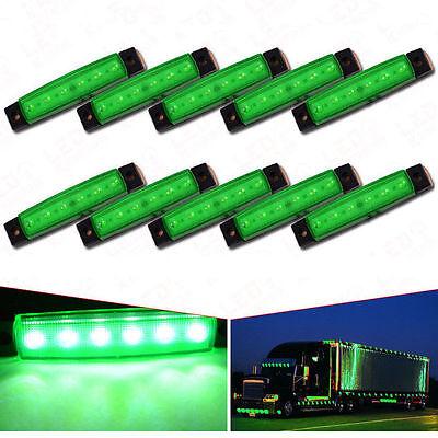 Green Led Side Marker Light (10Pcs 12V 6-LED Super Green Clearance Side Marker Trailer Light Van)