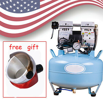 Us Dental Medical Silent Noiseless Oil Fume Oilless Air Compressor Suction Base