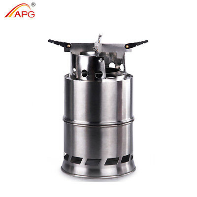 Portable Wood Gas Burning Camp Stove Foldable Camping Backpacking Stoves APG - Gas Wood Stoves