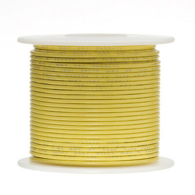 22 Awg Gauge Stranded Hook Up Wire Yellow 100 Ft 0.0253 Ul1015 600 Volts
