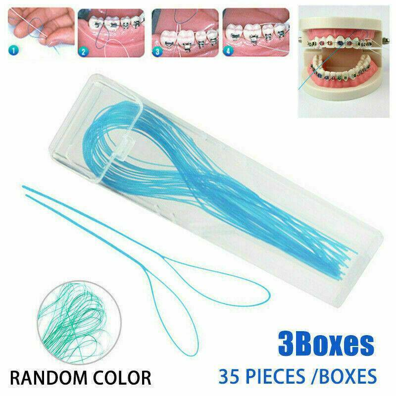 105x Dental Floss Threaders Simple Loop Set W/ Case For Brac
