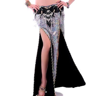 C216 wunderschöner Bauchtanz Kostüm Rock mit 2 Schlitze und glanzendem Stoff ()