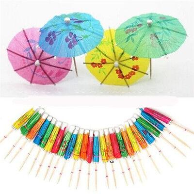 40X Paper Cocktail Parasols Umbrellas Party Wedding Supplies Luau Drink Stick BS