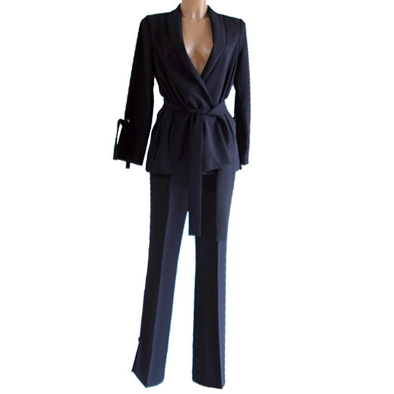Tailleur SFIZIO completo Giacca e Pantalone nero blu donna 44 46 48 50 abito