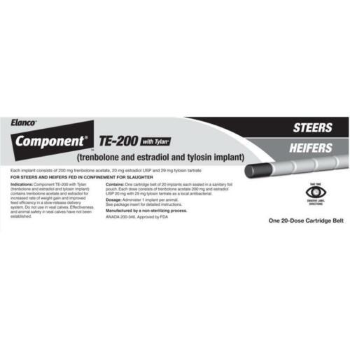 Elanco Component TE-200 with Tylan Steer/Heifer Implant FRESH Exp Jun23, 20doses