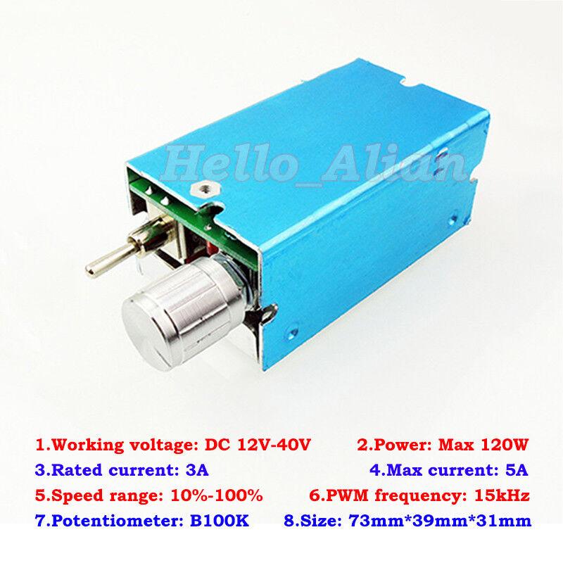 DC 12V-40V 24V 36V 5A PWM DC Motor Speed Controller CW CCW OFF Reversible Switch