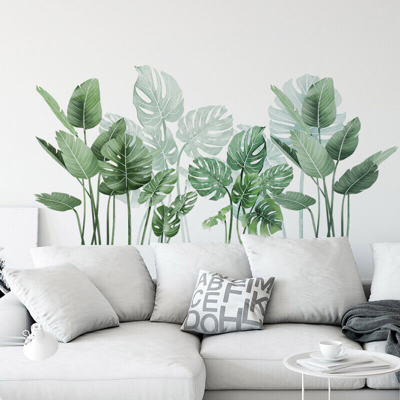 Home Decoration - Removable Wall Stickers Nursery Tropical Green Monstera Leaves Home Decor AU