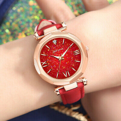 Women Casual Quartz Watch Round Star Dial Watch with Perfora