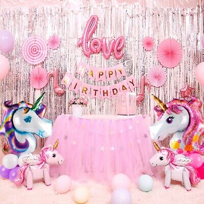 9Pcs Jumbo Unicorn Rainbow Balloon Children Birthday Ballon Party Decorations ](Rainbow Balloons)