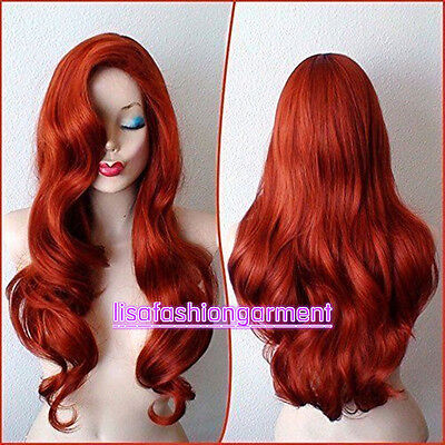 Copper Red Jessica Rabbit Curly Wavy Long Anime Cosplay Women Wig + wig cap - Jessica Rabbit Wig