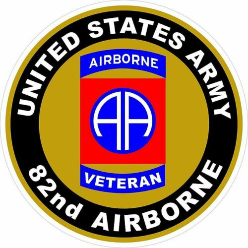 82nd AIRBORNE VETERAN  2 inch round decal.  NEW. $1.75 SHIPS FREE