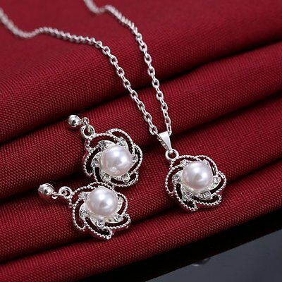 - New Rhinestone Crystal Flower Pearl Necklace Earrings Jewelry Set Wedding Bridal