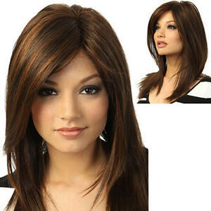 Women Long Straight Partial Bangs Full Wig Brunette Heat Resistant Party