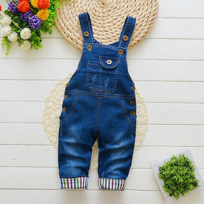 - Toddler Baby Boys Girls Casual Overalls Suspender Trousers Denim Jumpers Jeans