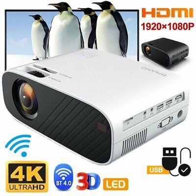 1080P 4K HD WiFi Bluetooth 3D LED Mini Video Projector Home Cinema USB Wifi Link