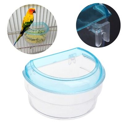 Semicircle Bird Feeder Acrylic Transparent Food Feeding Hanging Parrot Cage Bowl
