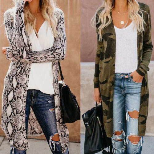 Women Leopard Print Open Cardigan Tops Long Sleeve Sweater Jacket Coat Outwear