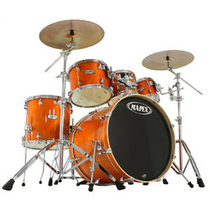 5pc. Mapex pro m series kit with double kicker and ride cymbal