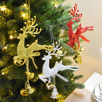 Details about Christmas Reindeer Ornaments Jingle Bell Xmas Tree Door  Hanging Decor Lovely