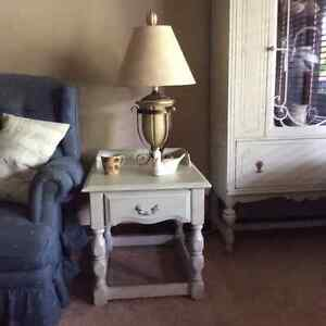 Antique white side table