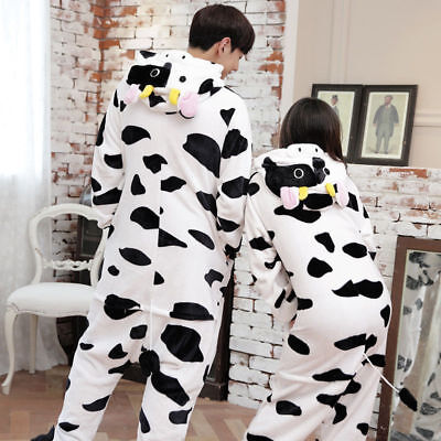 Unisex Adult Women Men Pajamas Kigurumi Cow Cosplay Costume Animal Sleepwear Hot