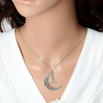 Celtic Crescent Moon with Trinity Necklace with chain