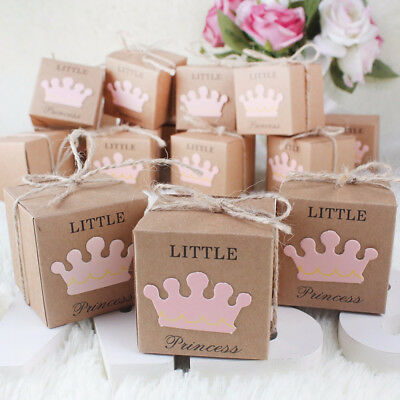 10Pcs Kraft Paper Baby Shower Favor Gift Box Candy Boxes Wed