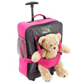 Cabin Max Childrens Trolley Suitcase with Teddy holder