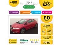 HONDA CIVIC 1.4 1.6 1.8 2.2 I-VTEC ES-T SI TI SE PLUS SPORT SR FROM £20 PER WEEK