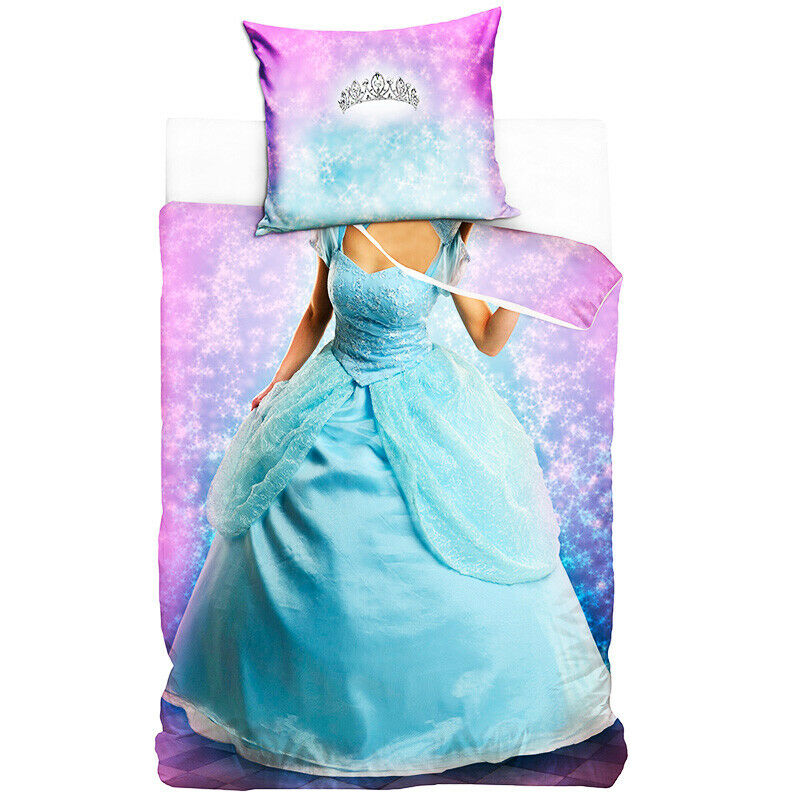 Bedding Set Princess in blue dress and silver crown For Girl