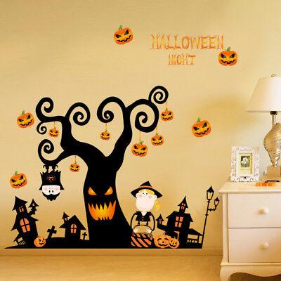3D Halloween Pumpkin Lantern Wall Stickers Decals Wallpaper Mural Art Decor Home