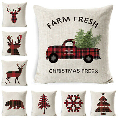 Christmas Flax Throw Pillow Covers Cases Sofa Cushion Cover Xmas Home Decor ()