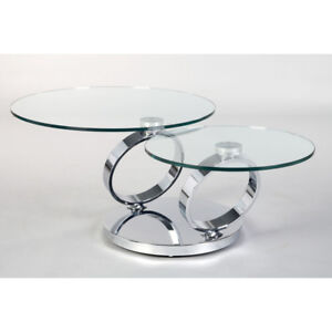 Modern 2 Levels Swivel Round Glass Coffee Table