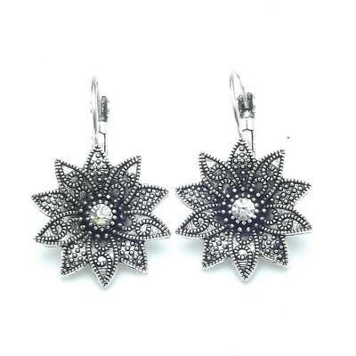 - Exquisite antiques silver Tibetan sun flower Cubic zirconia Drop Earrings