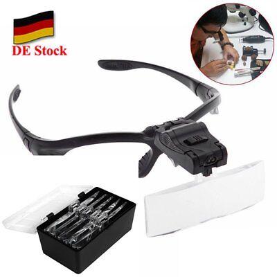 DE LED Kopflupe Stirnlupe Brillenlupe Lupenbrille Lupe Licht mit 5 Vergrößerungs online kaufen