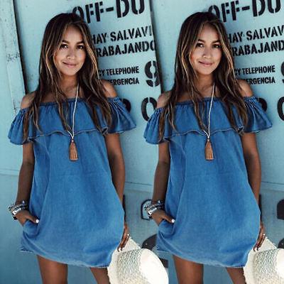 Sommer Kleid Jeans (DE Damen Baggy Strand Denim Rüschen Hippie Sommerkleid Jumper Jeanskleid Kleider)