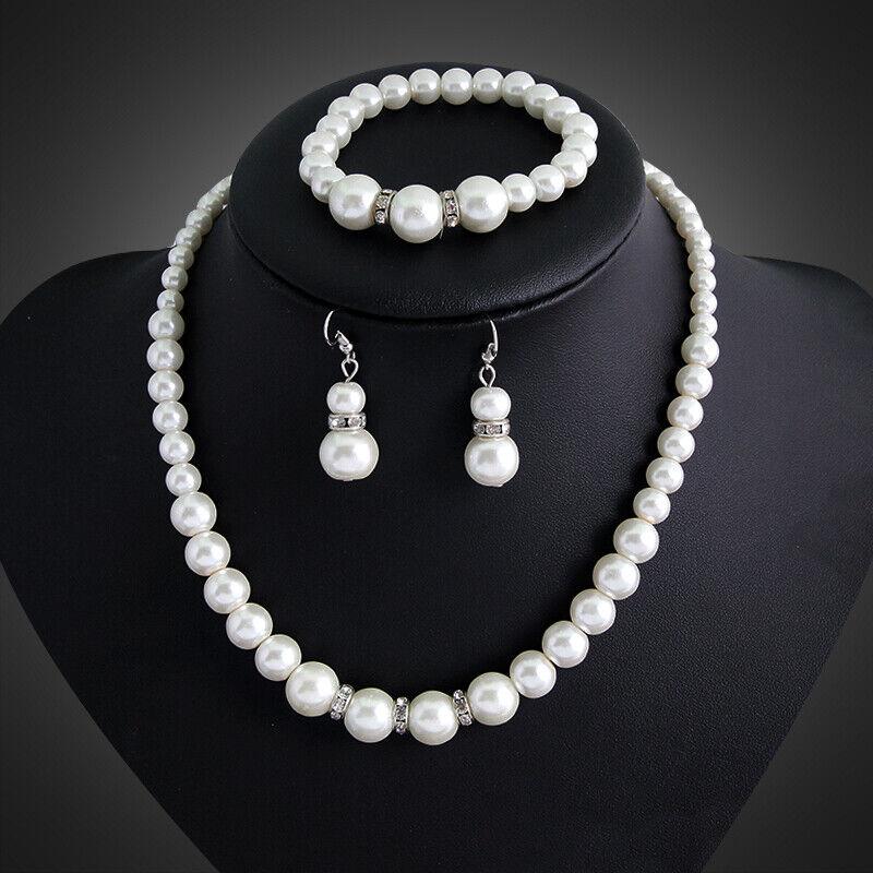 Women Real Natural Freshwater Pearl Necklace Bracelet Earrin