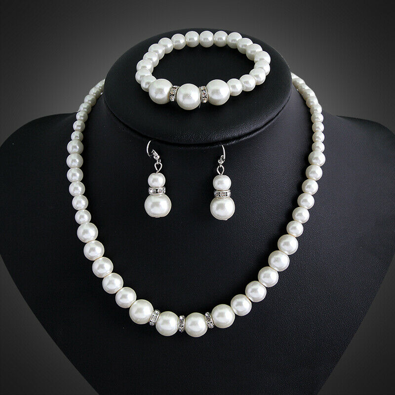 Jewellery - 7-8mm Real Natural Freshwater Pearl Necklace Bracelet Earrings Jewelry Set