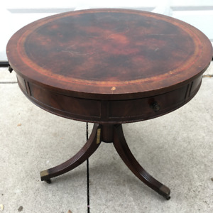Antique Round Leather Drum Table