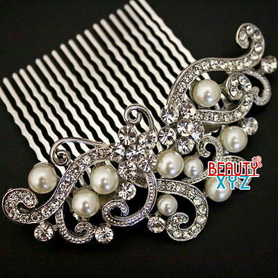 New Fashion beautiful elegant wedding flower bridal hair comb pearl and crystal