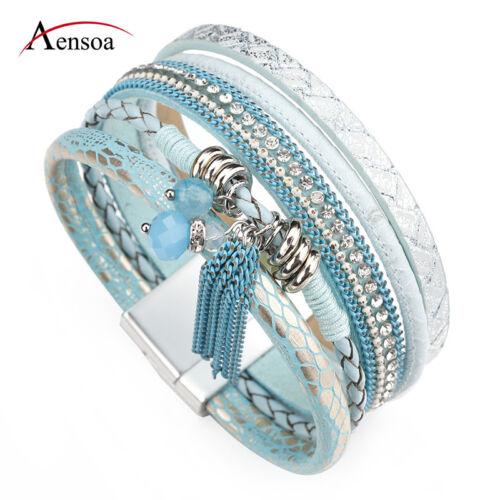 Fashion Women Bohemian Multilayer Leather Rhinestone Beads Tassel Wrap Bracelet