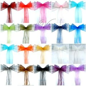 100PCS-Organza-Chair-Sashes-Bow-Wedding-Cover-Banquet