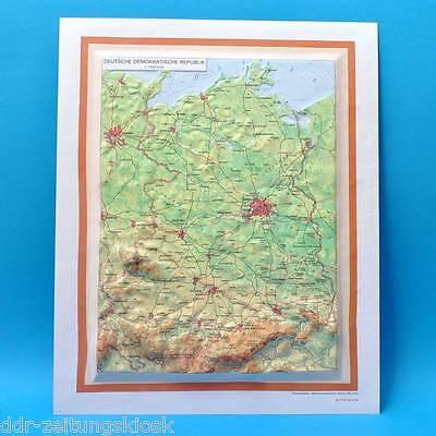 3D 3-D Landkarte | Deutsche Demokratische Republik | DDR 33 x 42 cm von 1990