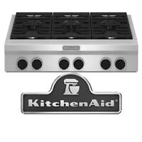 """Kitchen Aid KGCU467VSS 36"""" Gas Cooktop, with 6 Sealed Burners"""