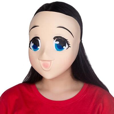 Latex Female Sweet Girl Half Head Kigurumi Mask With BJD Eyes Cartoon - Halloween Sweets Cartoon