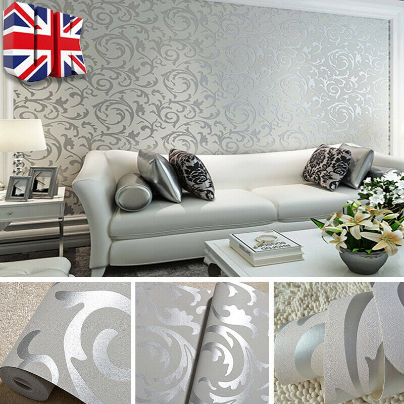 Home Decoration - 10M Home Decor Metallic Textured Damask Embossed Wallpaper Grey Silver Glitter