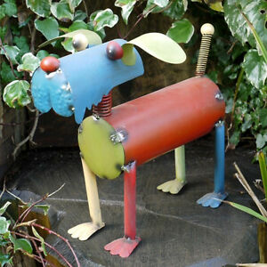 Hand Made Metal Dog Garden Ornament Mixed Coloured Patio