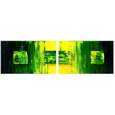 """""""Green Wax"""" Abstract Squares Lines 2 Piece Panels Canvas Oil Painting Wall Art"""