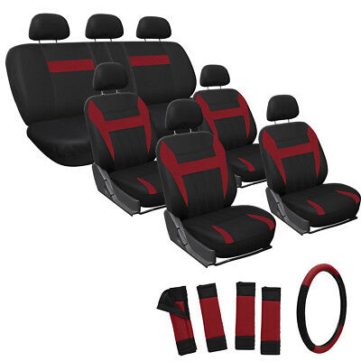 23pc Full Set Red Seat Covers For SUV VAN TRUCK AUTO w/Steering Wheel Belt Pad